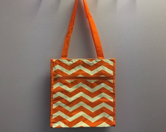 Personalized Orange Chevron Square Tote Bag