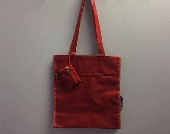 Personalized Red Square Tote Bag