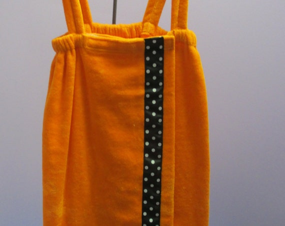 Towel Wrap Child's Personalized Embroidered Size Medium Orange with Accent Ribbon