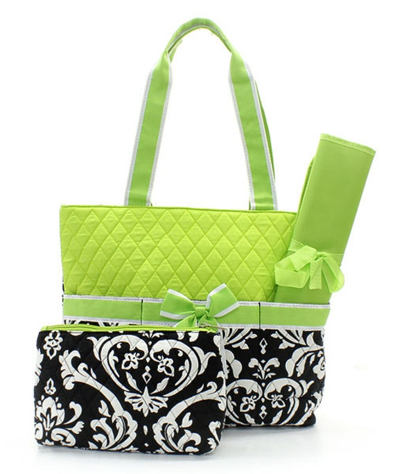 Diaper Bag Lime Green Damask Print Quilted with Personalized Embroidery