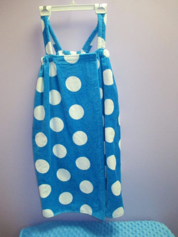 Spa Wrap Children's Personalized Size Medium Turquoise Polka Dot Towel Wrap