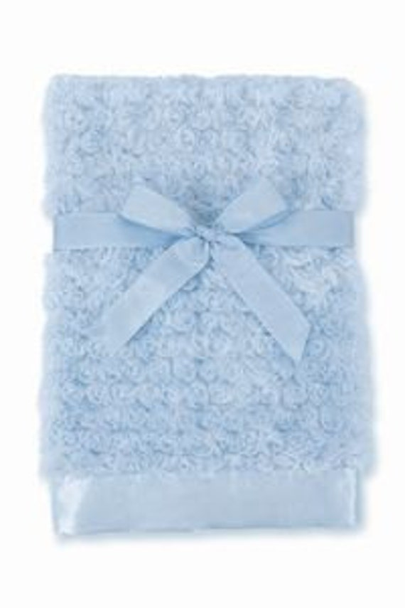 Baby Blanket Personalized Swirly Blue Minky