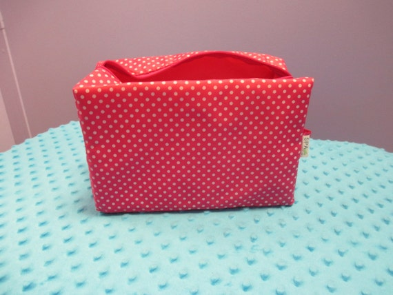 ON SALE* Personalized Hot Pink Polka Dot Cosmetic Bag