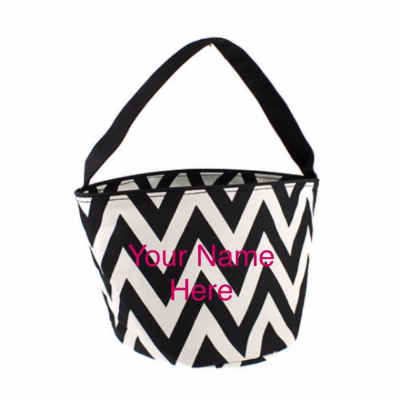 Bucket Tote Personalized Small Black Chevron