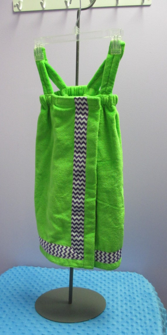 Towel Wrap Child's Personalized Embroidered Size Small Lime with Accent Ribbon