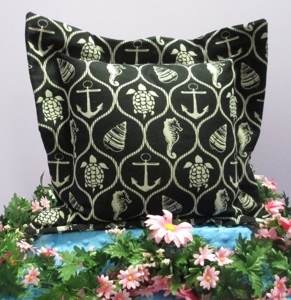 Pillow Cover Monogrammed Black Nautical Print Handmade