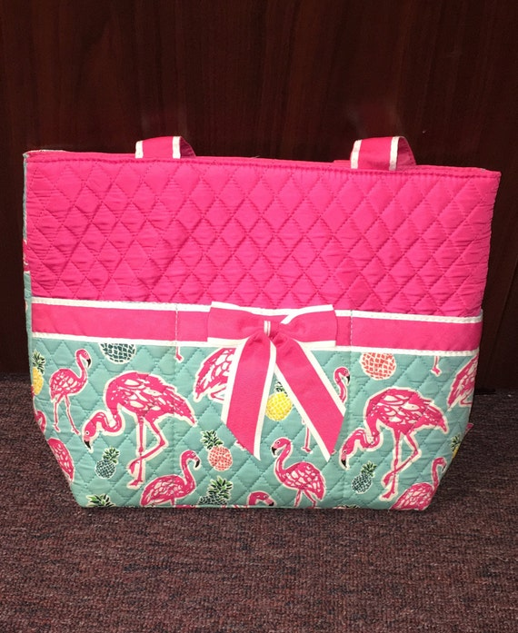 Diaper Bag Quilted Pink Teal Flamingo Pineapple