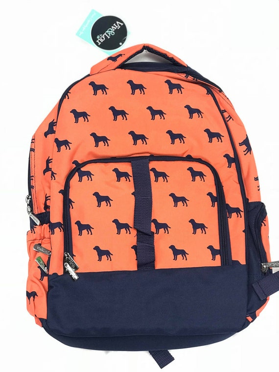 Monogrammed Backpack, Personalized Navy Orange Dog Bookbag, Back to School, School Bookbag, Backpack Bundle, Lunchbox, Back to School Bundle