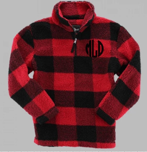 Youth Monogrammed Buffalo Check Sherpa pullover quarter zip jacket