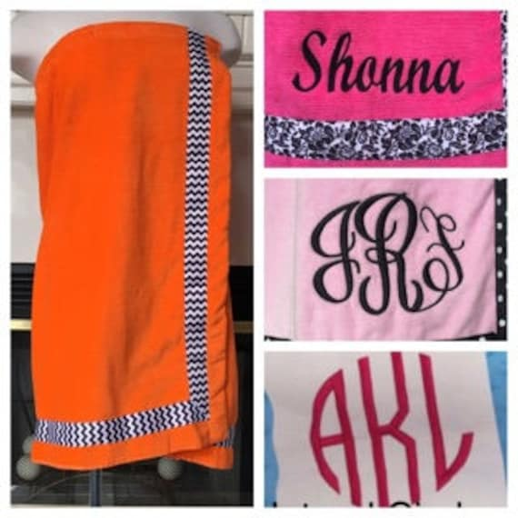 Spa Wrap Personalized Womens Orange Towel Wrap With Accent Ribbon