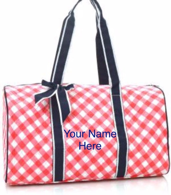 Duffle Bag Personalized Coral Plaid Print Quilted with Navy Accent