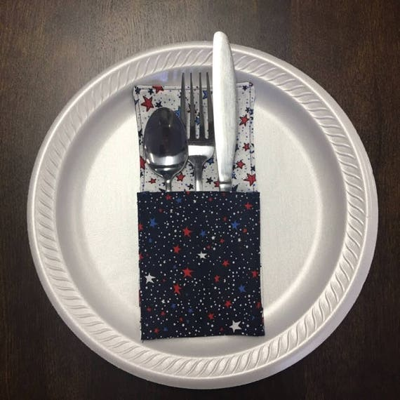 4th of July, Patriotic, Navy And White Stars Fabric Silverware Holder