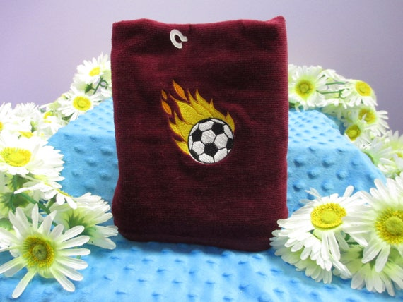 Sports Towel Personalized Soccer Ball on Fire-FREE SHIPPING