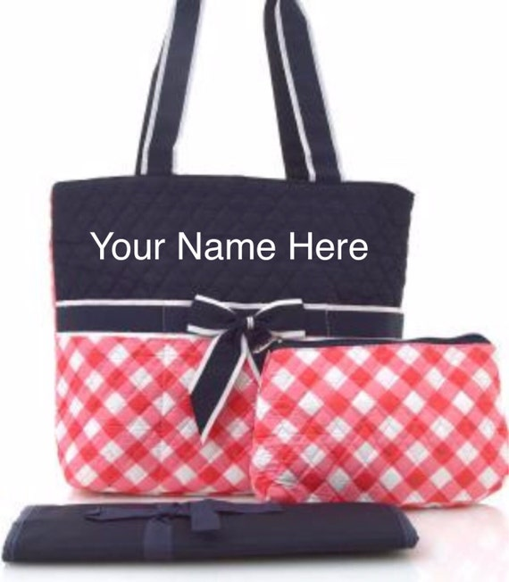 Diaper Bag Coral Plaid Quilted with Personalized Embroidery