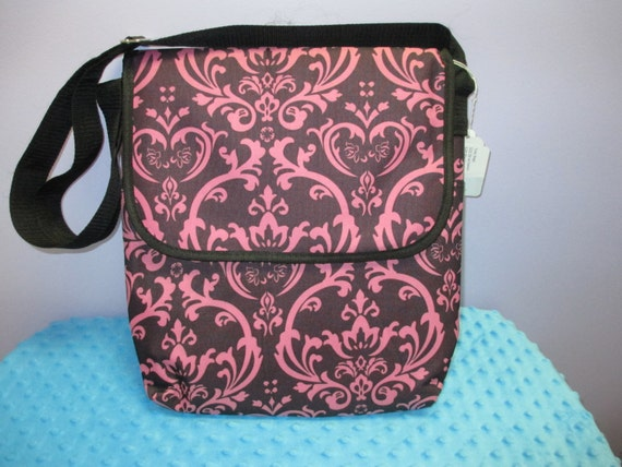 Personalized Brown and Pink Damask with Brown Trim Laptop Messenger Bag