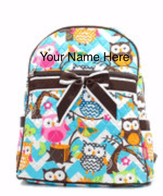 Quilted Backpack Personalized Aqua Chevron Quilted with Owls and Brown Ribbon Accent