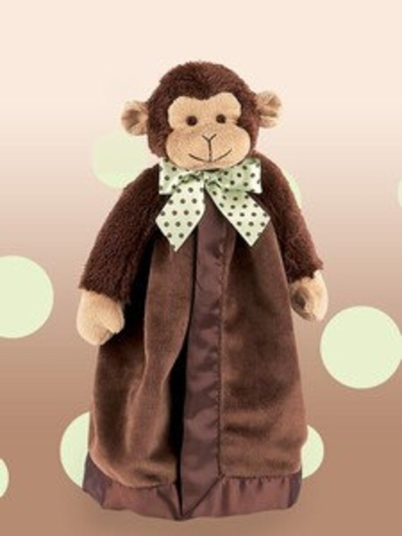 Monkey Snuggle Buddy with Personalized Embroidery FREE SHIPPING