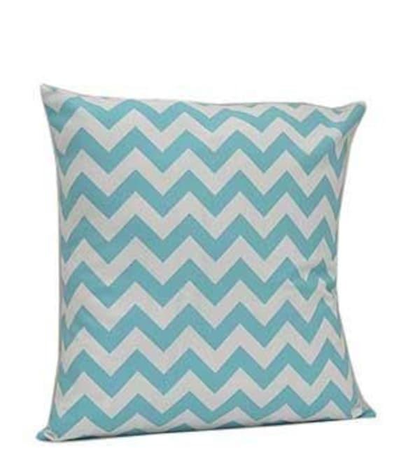 Pillow Cover Monogrammed Aqua Chevron Print