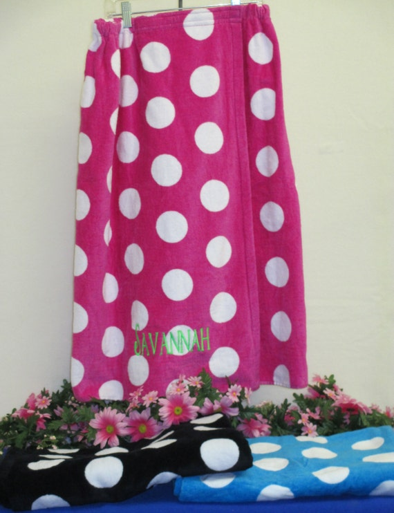 Spa Wrap Personalized Embroidered Hot Pink Polka Dot Women's Towel Wrap