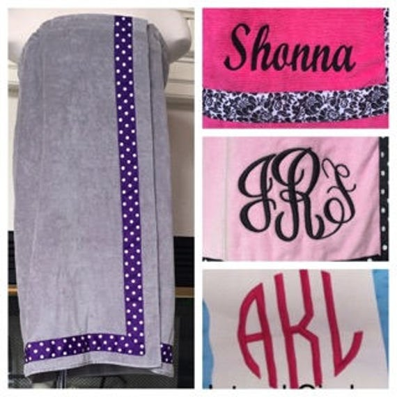 Spa Wrap Personalized Plus Size Womens Gray Towel Wrap With Accent Ribbon