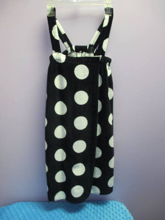 Spa Wrap Children's Personalized Size Medium Black Polka Dot Towel Wrap