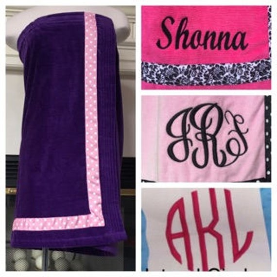 Spa Wrap Personalized Plus Size Womens Purple Towel Wrap With Accent Ribbon