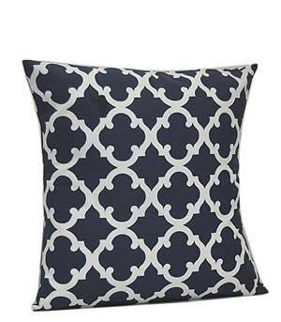 Pillow Cover Monogrammed Navy Quatrefoil Print