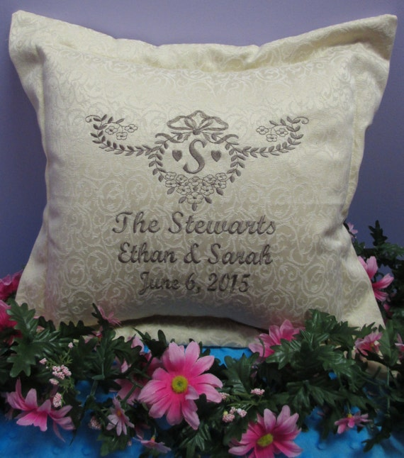 Pillow Cover Personalized Monogrammed Wedding or Anniversary