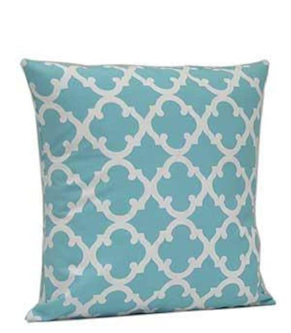 Pillow Cover Monogrammed Aqua Quatrefoil Print-FREE SHIPPING