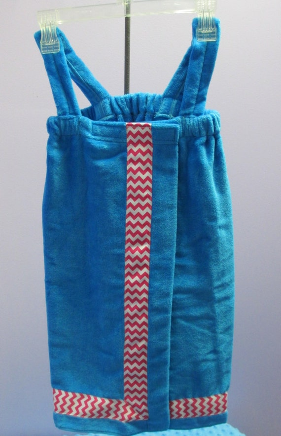 Towel Wrap Child's Personalized Embroidered Size Small Turquoise with Accent Ribbon