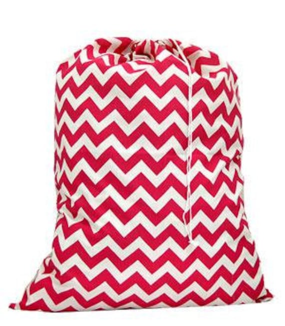 Laundry Bag Hot Pink Chevron Print with Personalized Embroidery