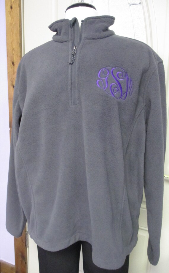 Quarter Zip Fleece Pullover with 3- Letter Monogrammed