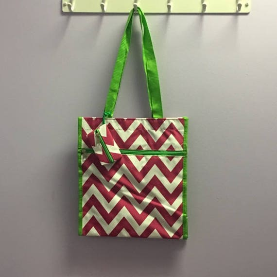 Personalized Hot Pink Chevron With Lime Green Accent Square Tote Bag