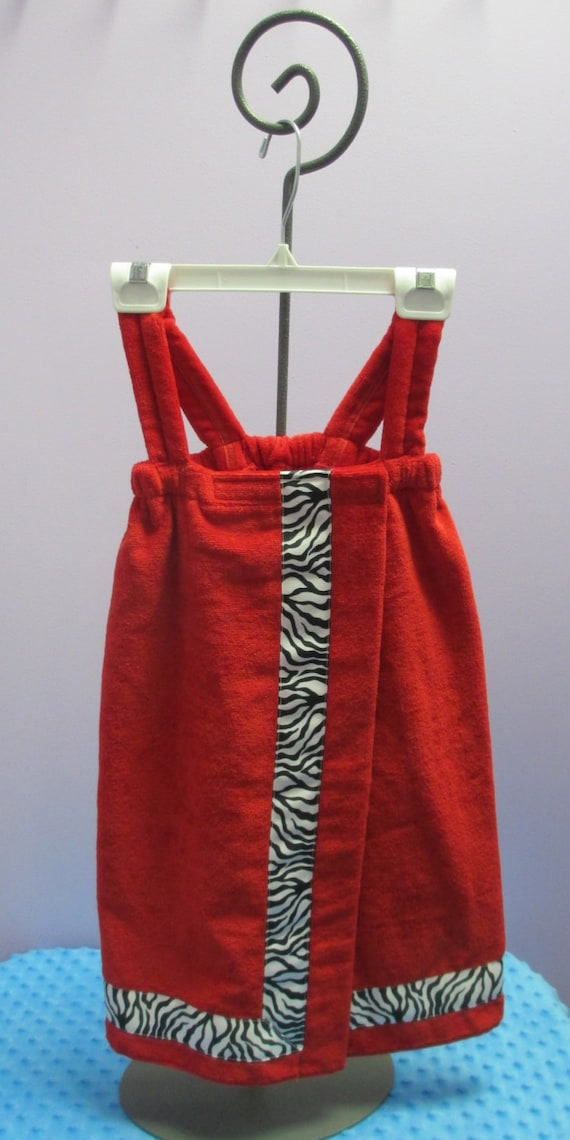 Towel Wrap Child's Personalized Embroidered Size Small Red with Accent Ribbon