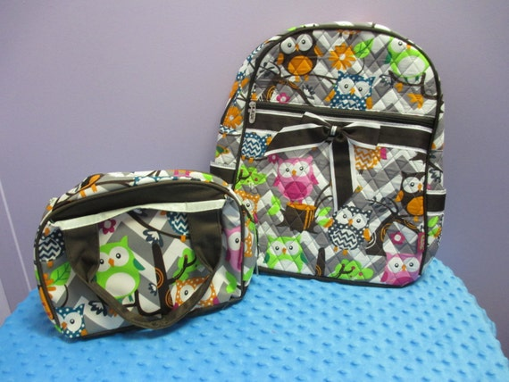 Personalized Quilted Grey Chevron with Owls Backpack with matching insulated Lunch Bag FREE SHIPPING