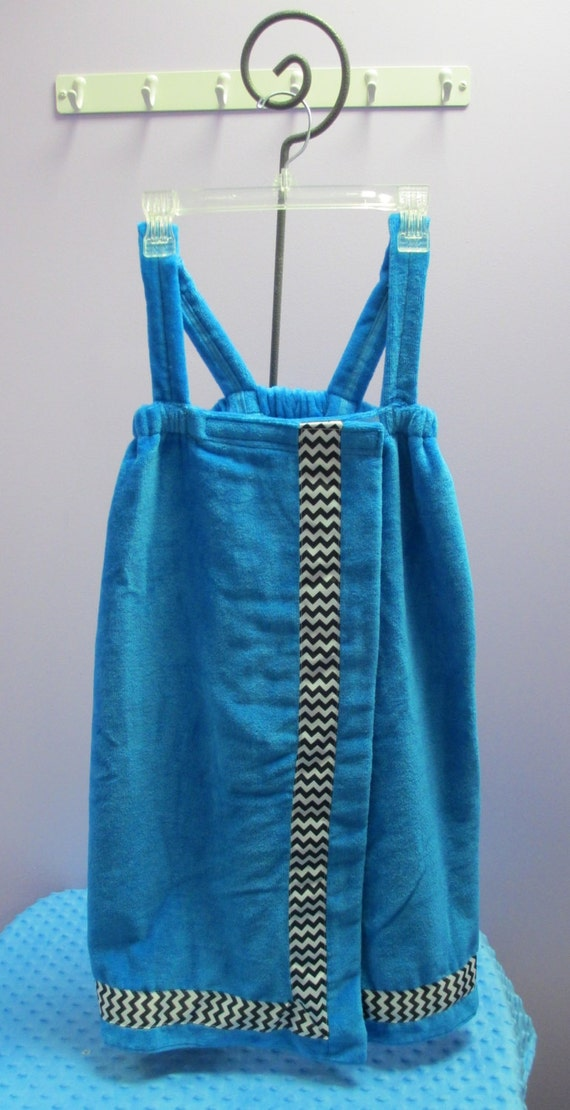 Spa Wrap Personalized Child's Size Medium Turquoise with Accent Ribbon- Embroidered Towel Wrap