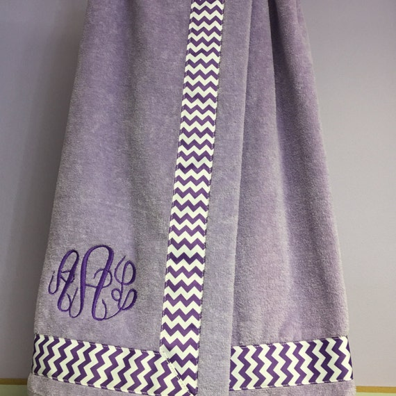 Towel Wrap Child's Personalized Embroidered Size Medium Lavender with Accent Ribbon