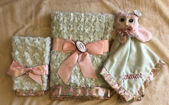 Personalized Snuggle Buddy Pink owl Set