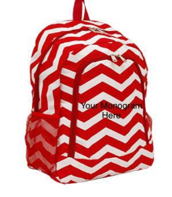 Backpack Red Chevron Print with Personalized Monogram