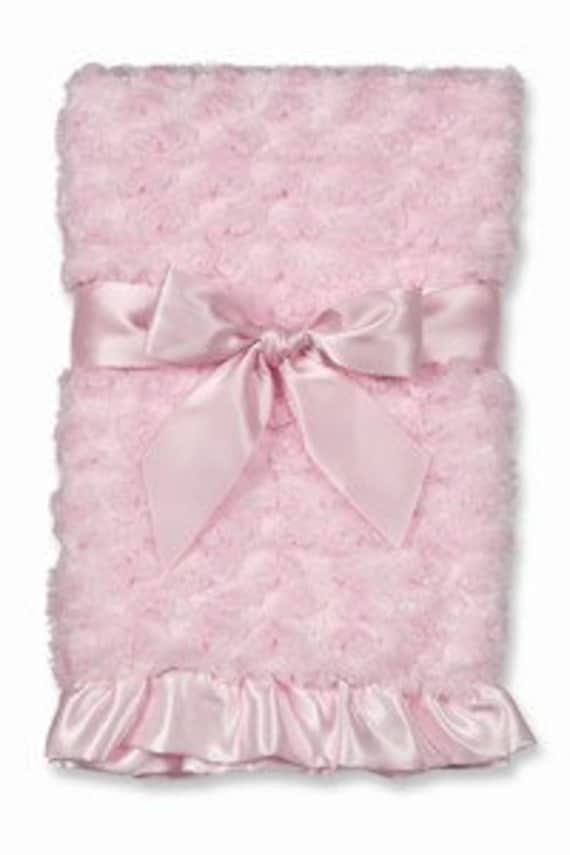 Baby Blanket Personalized Swirly Pink Minky