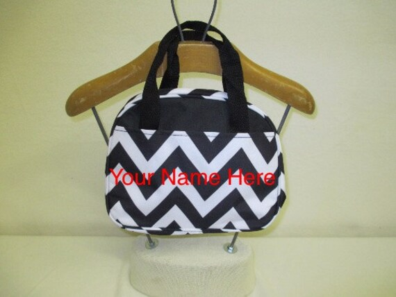 Insulated Lunch Bag Personalized Black Chevron Print