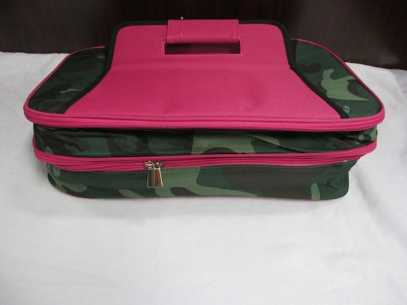 Double Casserole Carrier Hot Pink Camo Print with Personalized Embroidery
