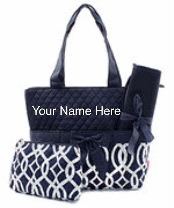 Diaper Bag Quilted Navy Vine Print with Personalized Embroidery