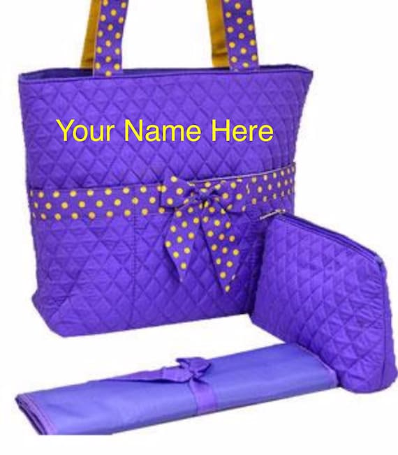 Diaper Bag Monogrammed Purple Quilted with Yellow Accent