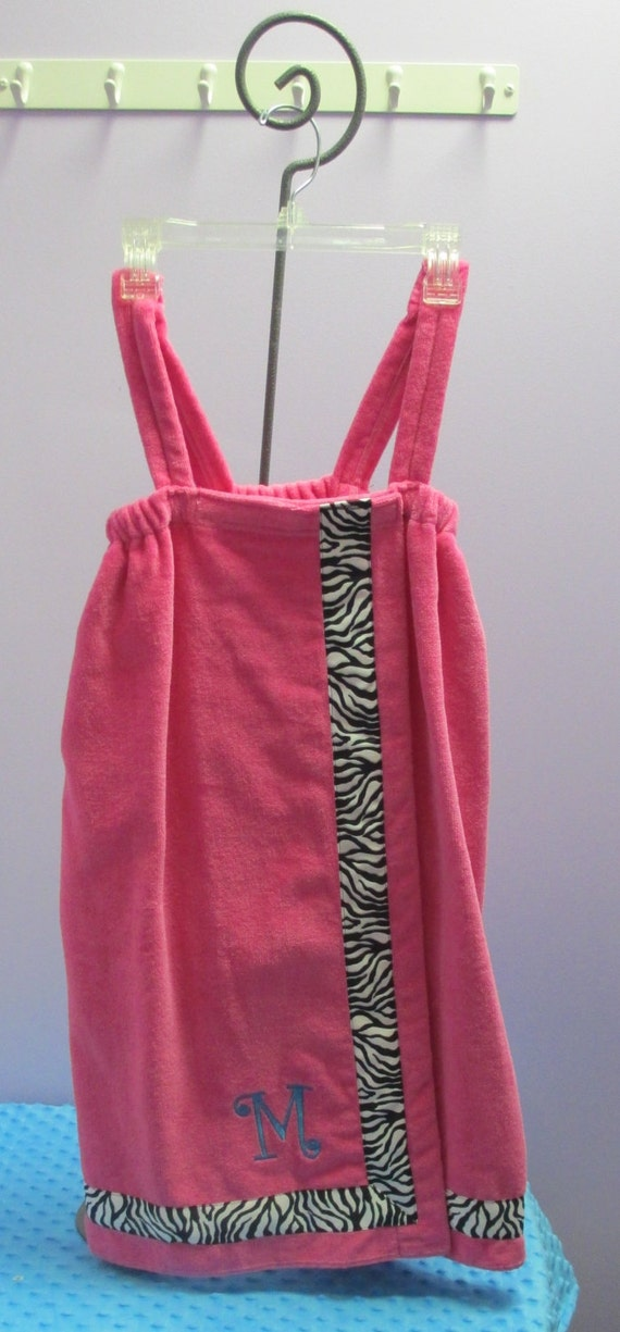 Towel Wrap Child's Personalized Embroidered Size Medium Hot Pink with Accent Ribbon