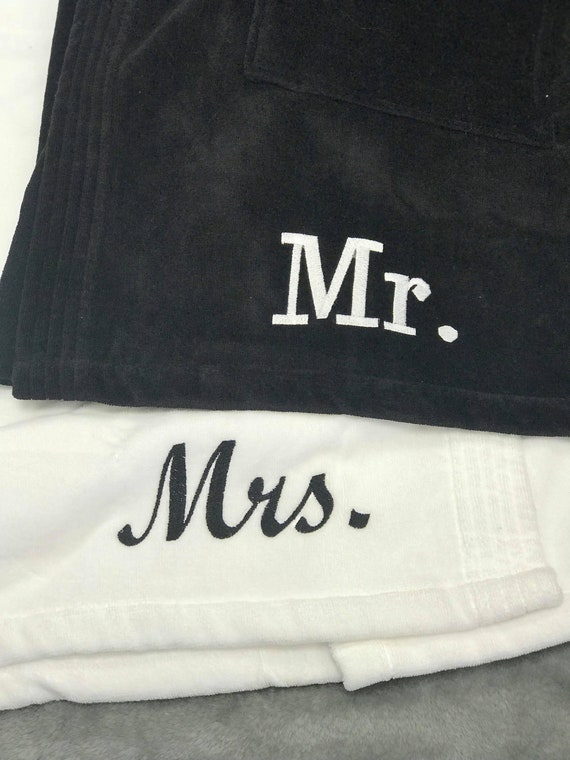 Mr. and Mrs. Terry Velour Spa Set, Bride & Groom  Set, couples shower gift idea, engagement gift idea for couples, gift idea
