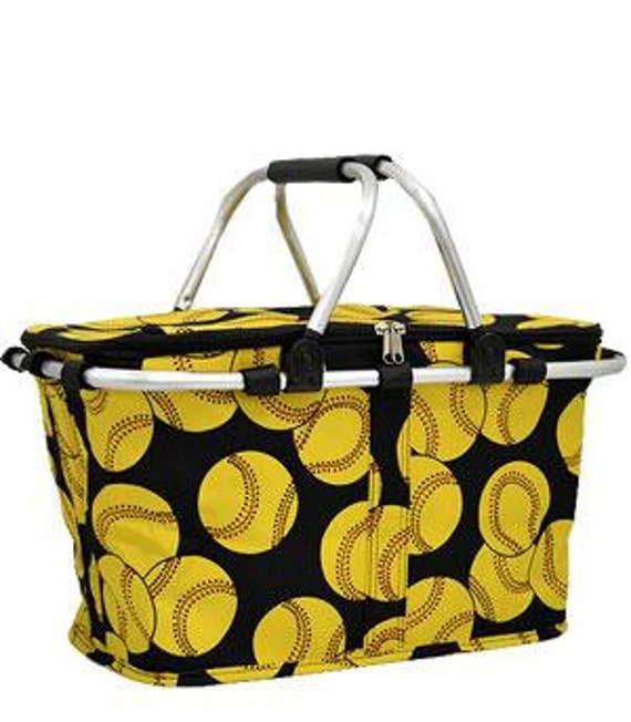 Insulated Market Tote Cooler Softball Print with Personalized Embroidery