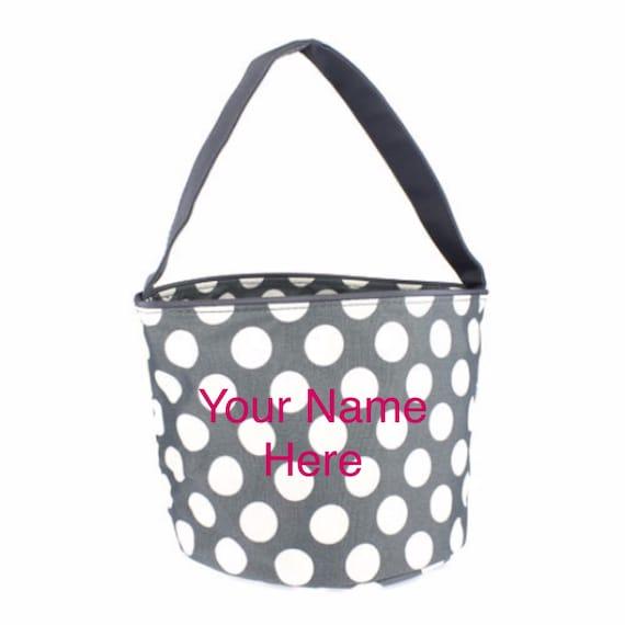 Bucket Tote Personalized Small Grey Polka Dot