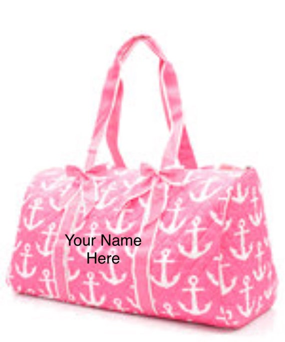 Duffle Bag Hot Pink Anchor Quilted with Personalized Embroidery