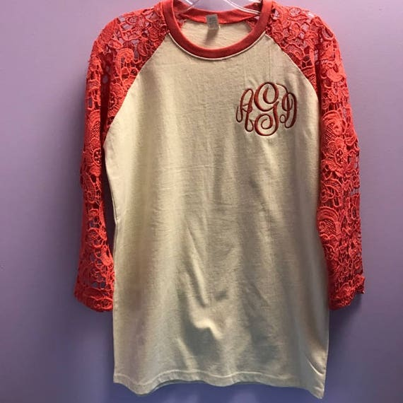 Personalized Coral Crocheted Sleeves Baseball T-Shirt